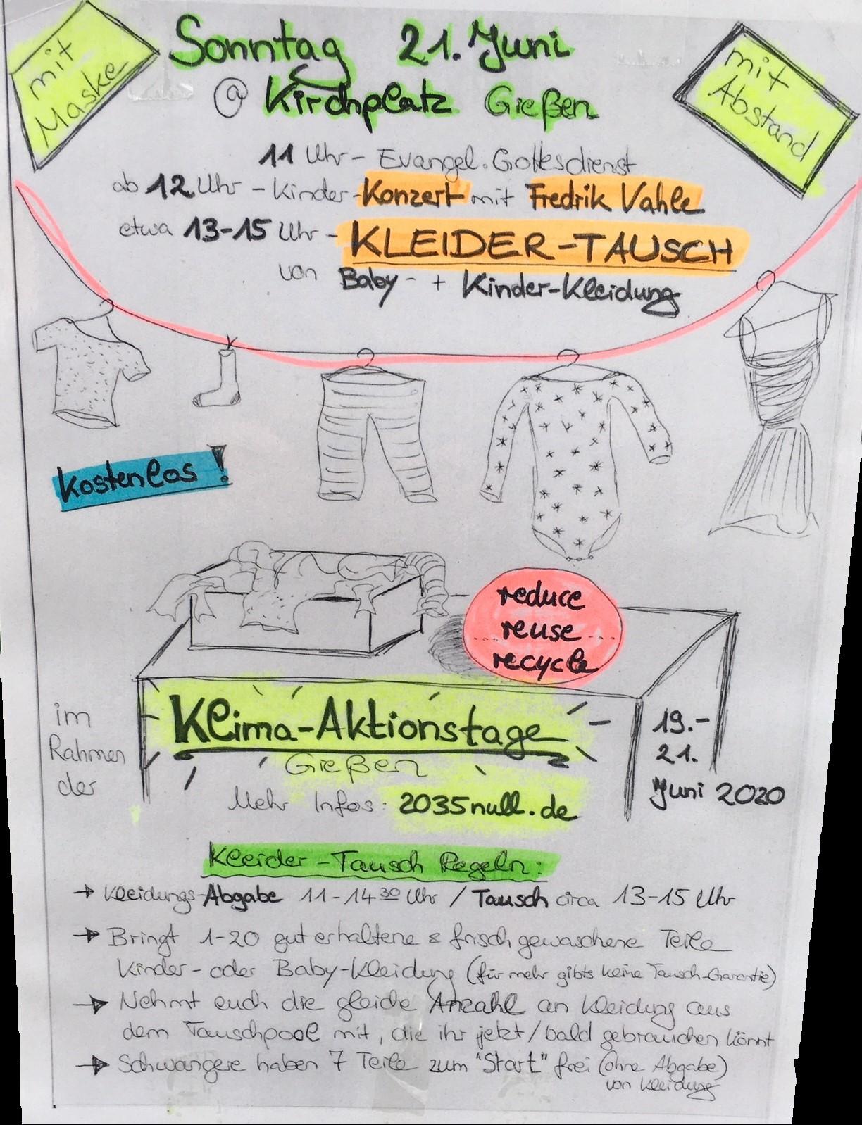Kinderkleider-Tauschbörse Plakat Parents 4 Future