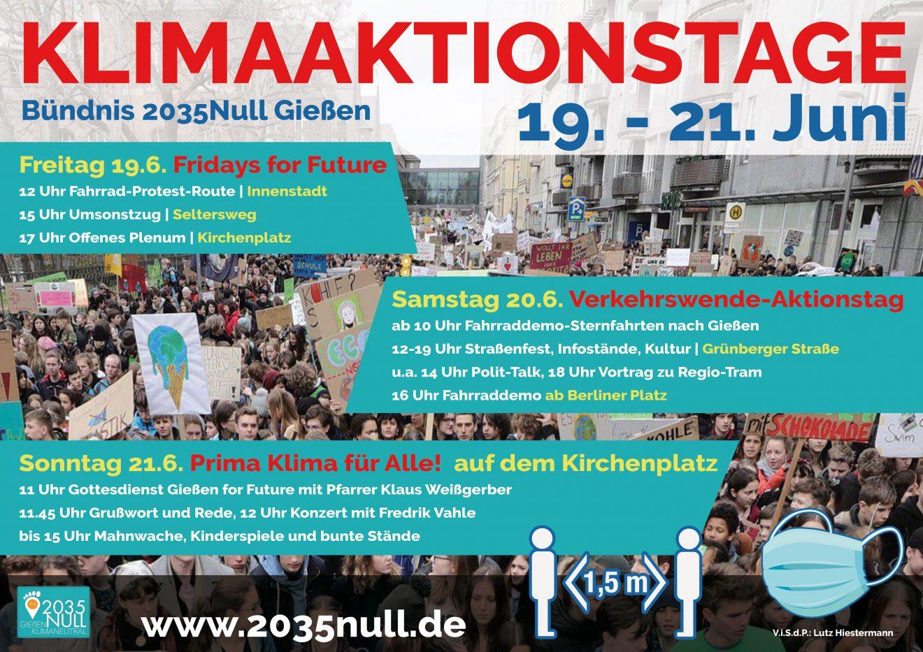 Plakat Klimaaktionstage 19. -21. Juni